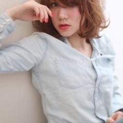 ミディアム 春 パーマ ゆるふわ ヘアスタイルや髪型の写真・画像