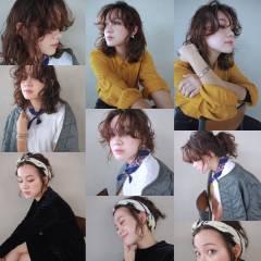 ウェーブ 外国人風 パーマ ミディアム ヘアスタイルや髪型の写真・画像