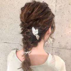 編みおろし ヘアセット 結婚式ヘアアレンジ ヘアアレンジ ヘアスタイルや髪型の写真・画像