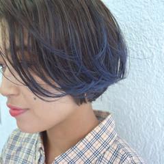 グラデーションカラー ストリート ハイライト ブルー ヘアスタイルや髪型の写真・画像
