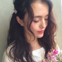 パーマ セミロング ヘアアレンジ ハーフアップ ヘアスタイルや髪型の写真・画像