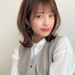 デジタルパーマ モテ髪 ミディアム フェミニン ヘアスタイルや髪型の写真・画像