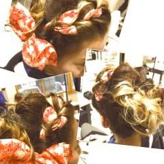 ヘアアレンジ ゆるふわ ヘアアクセ セミロング ヘアスタイルや髪型の写真・画像