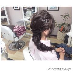 パーティ 編み込み セミロング 二次会 ヘアスタイルや髪型の写真・画像