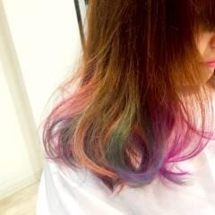 ストレート ストリート パンク カラフルカラー ヘアスタイルや髪型の写真・画像