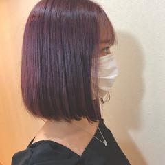 ベリーピンク ラズベリーピンク ピンクパープル ミディアム ヘアスタイルや髪型の写真・画像