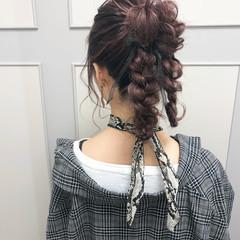 ポニーテール ロング ラベンダー ピンク ヘアスタイルや髪型の写真・画像