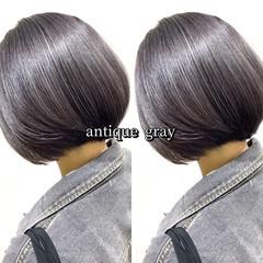ショートボブ ショート アッシュグレー グレーアッシュ ヘアスタイルや髪型の写真・画像