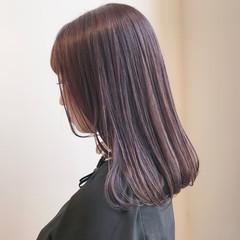 透明感カラー セミロング 大人かわいい フェミニン ヘアスタイルや髪型の写真・画像