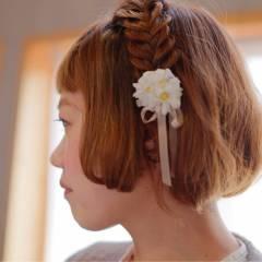 ボブ ナチュラル 三つ編み アップスタイル ヘアスタイルや髪型の写真・画像