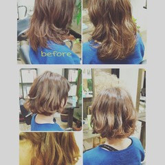 パーマ ハイライト アッシュ ナチュラル ヘアスタイルや髪型の写真・画像