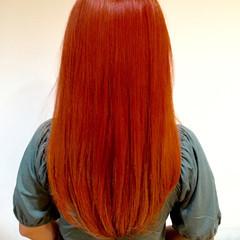 ダブルカラー セミロング 外国人風 オレンジ ヘアスタイルや髪型の写真・画像