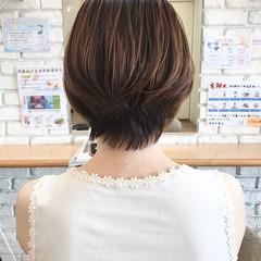 ショートヘア 3Dハイライト 透明感カラー ショートボブ ヘアスタイルや髪型の写真・画像