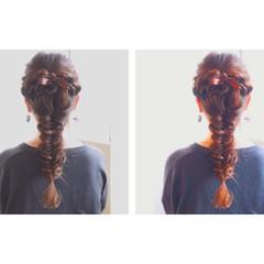 ロング 大人かわいい 簡単ヘアアレンジ ゆるふわ ヘアスタイルや髪型の写真・画像