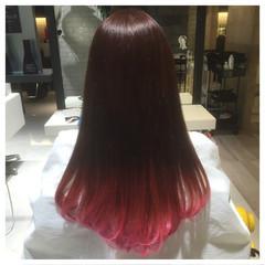 ワンカール ガーリー ピンク グラデーションカラー ヘアスタイルや髪型の写真・画像