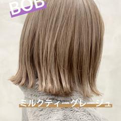 透明感カラー ナチュラル モテボブ ブリーチ ヘアスタイルや髪型の写真・画像