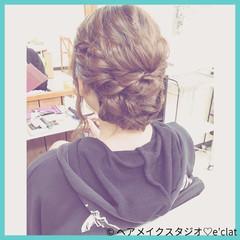 まとめ髪 ルーズ アップスタイル セミロング ヘアスタイルや髪型の写真・画像