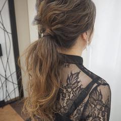 結婚式 デート 簡単ヘアアレンジ ナチュラル ヘアスタイルや髪型の写真・画像