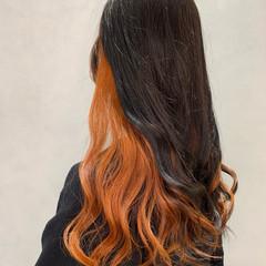 インナーカラー セミロング ガーリー オレンジ ヘアスタイルや髪型の写真・画像