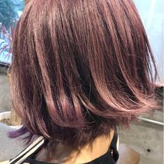 ラベンダーピンク 外国人風カラー ガーリー ボブ ヘアスタイルや髪型の写真・画像