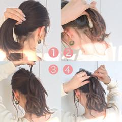 ボブ ショート ミディアム 簡単ヘアアレンジ ヘアスタイルや髪型の写真・画像