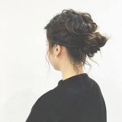 ローポニーテール ロープ編み くるりんぱ 簡単ヘアアレンジ ヘアスタイルや髪型の写真・画像