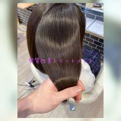 暗髪 髪質改善 トリートメント ミディアム ヘアスタイルや髪型の写真・画像