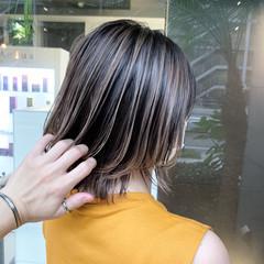 バレイヤージュ グラデーションボブ グラデーションカラー ボブ ヘアスタイルや髪型の写真・画像