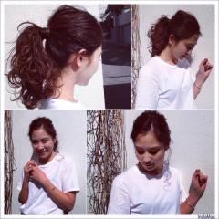 セミロング ショート ウェーブ 簡単ヘアアレンジ ヘアスタイルや髪型の写真・画像