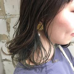 グレージュ インナーカラー ストリート ボブ ヘアスタイルや髪型の写真・画像