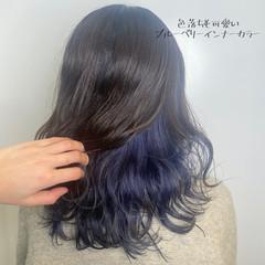ダブルカラー ブリーチ必須 派手髪 ブルーラベンダー ヘアスタイルや髪型の写真・画像