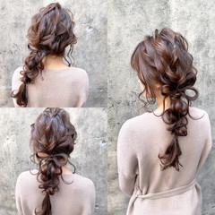 結婚式ヘアアレンジ 編みおろし ヘアアレンジ フェミニン ヘアスタイルや髪型の写真・画像
