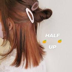 インナーカラー インナーカラーオレンジ オレンジカラー ヘアアレンジ ヘアスタイルや髪型の写真・画像