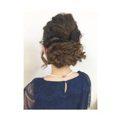 編み込み ヘアアレンジ ミディアム 結婚式 ヘアスタイルや髪型の写真・画像