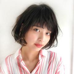 大人女子 前髪あり 夏 ボブ ヘアスタイルや髪型の写真・画像