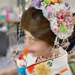 ヘアアレンジ セミロング 成人式ヘア フィンガーウェーブ ヘアスタイルや髪型の写真・画像