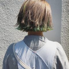 ストリート ダブルカラー 切りっぱなし ボブ ヘアスタイルや髪型の写真・画像