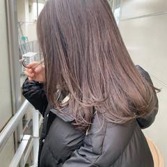 アッシュグレージュ セミロング 透明感カラー ラベンダーグレージュ ヘアスタイルや髪型の写真・画像