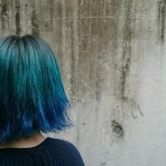 ストリート グラデーションカラー カラーバター ブルー ヘアスタイルや髪型の写真・画像