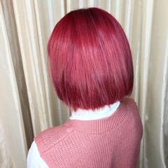 チェリーレッド ガーリー チェリーピンク ボブ ヘアスタイルや髪型の写真・画像