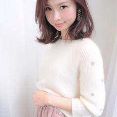 大人かわいい ピュア 小顔 ミディアム ヘアスタイルや髪型の写真・画像