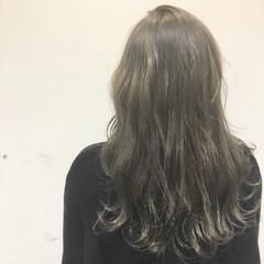 アッシュ ストリート セミロング ブラウン ヘアスタイルや髪型の写真・画像