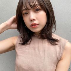 ナチュラル ヘアアレンジ 韓国ヘア セミロング ヘアスタイルや髪型の写真・画像
