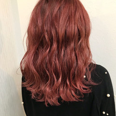 冬 ヘアアレンジ ガーリー ピンク ヘアスタイルや髪型の写真・画像