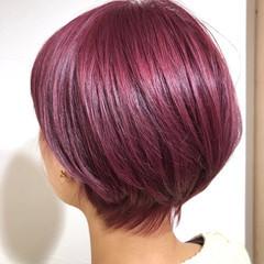 ピンクパープル ブリーチオンカラー ブリーチカラー ピンク ヘアスタイルや髪型の写真・画像