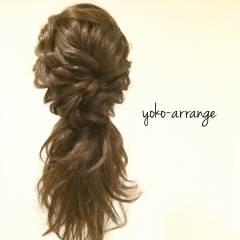 大人女子 ルーズ ガーリー 編み込み ヘアスタイルや髪型の写真・画像