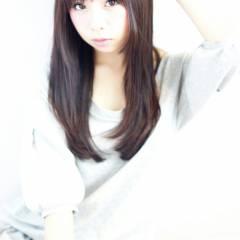 暗髪 大人かわいい シースルーバング ナチュラル ヘアスタイルや髪型の写真・画像
