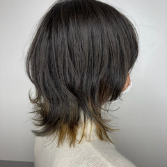ミディアム 大人ハイライト ストリート ウルフカット ヘアスタイルや髪型の写真・画像