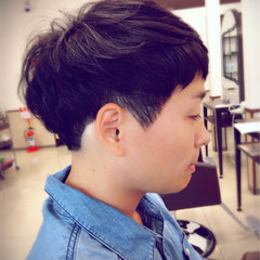 ショート 黒髪 暗髪 パーマ ヘアスタイルや髪型の写真・画像