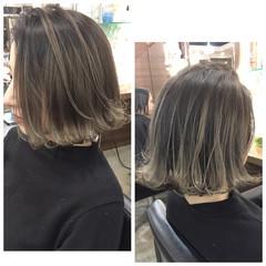 グラデーションカラー ストリート ボブ アッシュ ヘアスタイルや髪型の写真・画像